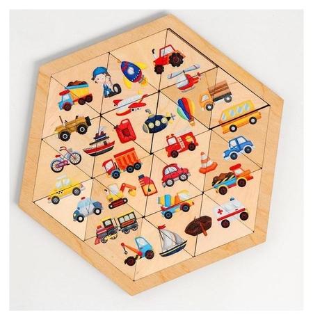 Пазл деревянный «Транспорт» (Занимательные треугольники)  Десятое королевство