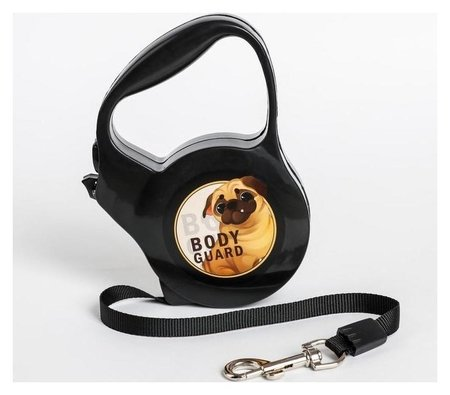 """Рулетка """"Body Guard"""", 3 м, вес животного до 18 кг, черная  Пушистое счастье"""