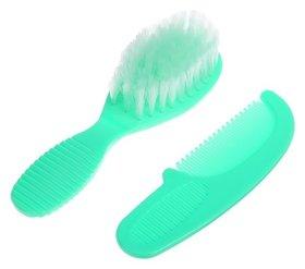 Расчёска детская + массажная щётка для волос, от 0 мес., цвет зелёный, рисунок Крошка Я