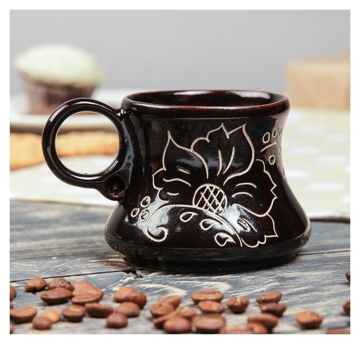 """Чашка кофейная """"Цветы"""", 0.2 л  Керамика ручной работы"""