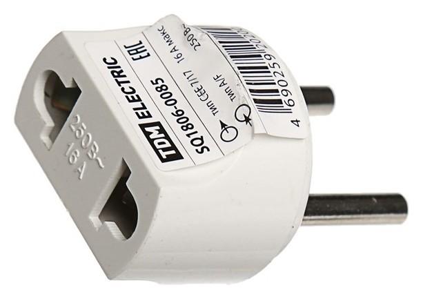 Переходник Tdm, 16 A, 250 В, тип с1-в - тип A/f, круглый, белый  TDM Еlectric