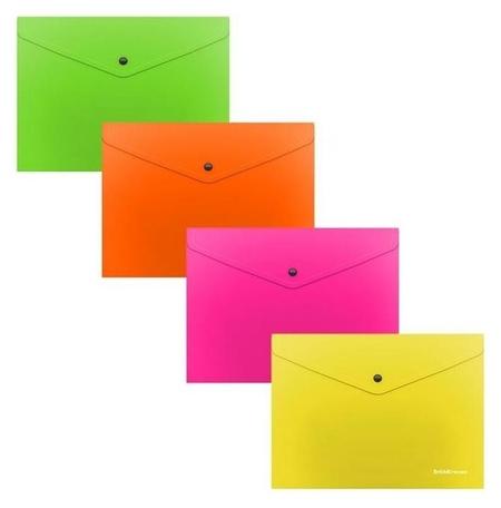 Папка-конверт на кнопке С6, полупрозрачная, Erich Krause Glossy Neon Erich krause