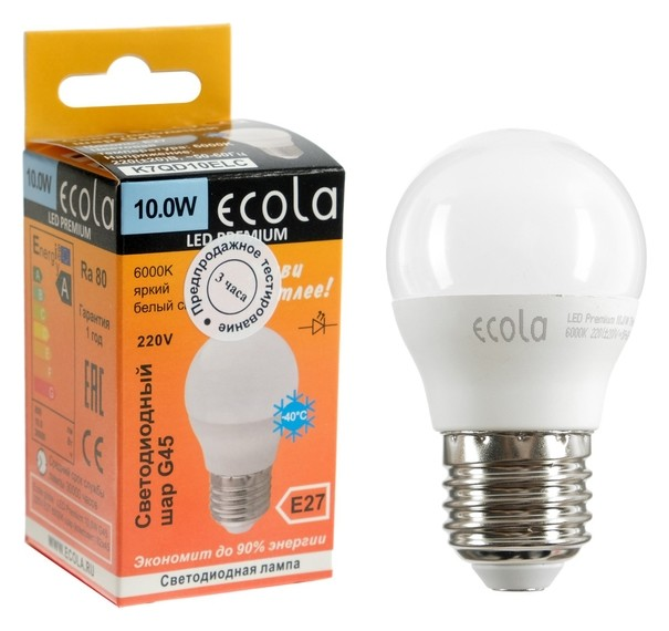 Лампа светодиодная Ecola Globe LED Premium, G45, 10 Вт, E27, 6000 K, 82x45 мм  Ecola