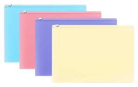 Папка-конверт на гибкой молнии Zip, А4, пластиковая, Erichkrause Fizzy Pastel  Erich krause