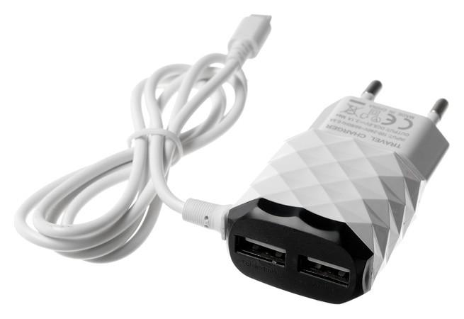 Сетевое зарядное устройство Luazon Lcc-25, 2 Usb, 1 A, Lightning, цвет черно-белое  LuazON