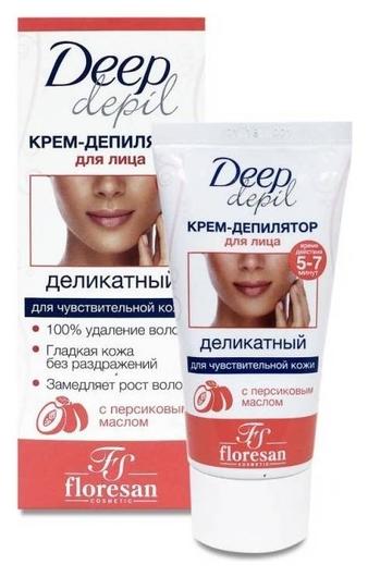 Деликатный крем-депилятор для удаления волос на лице с маслом персика  Флоресан (Floresan)