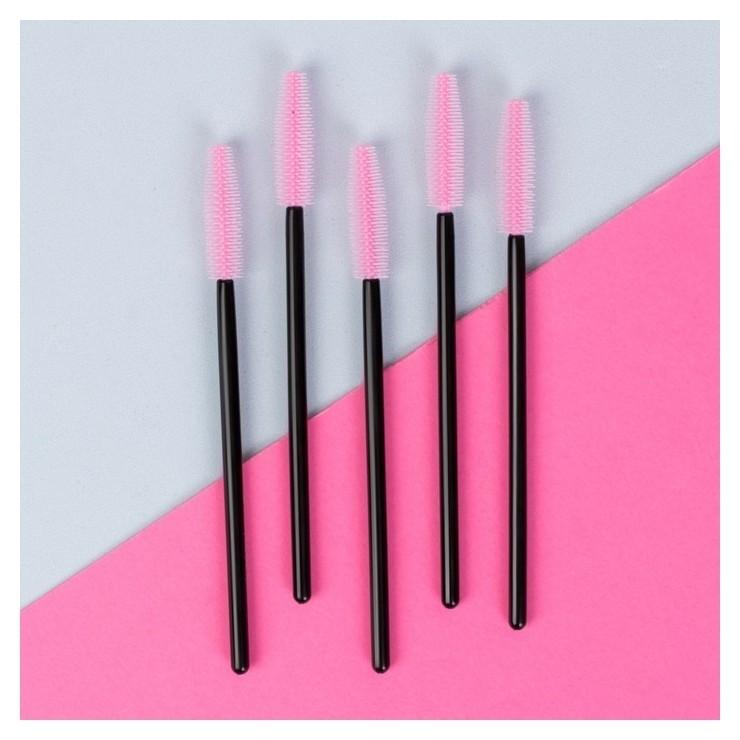 Набор щёточек для ресниц, 10,5 см, цвет чёрный/розовый  Queen Fair