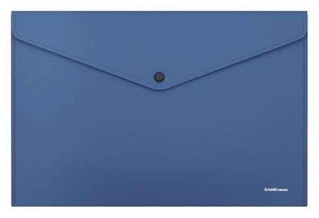 Папка-конверт на кнопке А4, Erichkrause. Fizzy Classic, непрозрачная, синяя  Erich krause