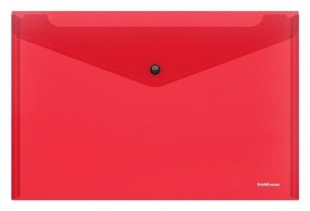 Папка-конверт на кнопке А4, Erichkrause. Glossy Classic, полупрозрачная, красная  Erich krause