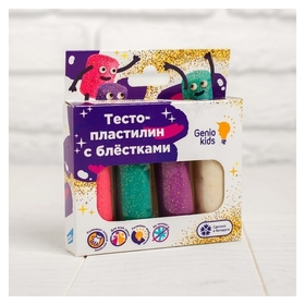Набор для детской лепки «Тесто-пластилин 4 цвета с блёстками»  Genio Kids