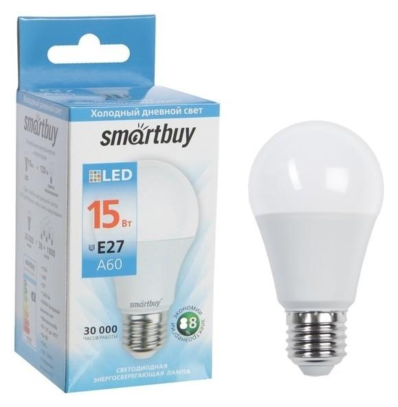 Лампа светодиодная Smartbuy, а60, е27, 15 Вт, 6000 К, холодный белый свет Smartbuy