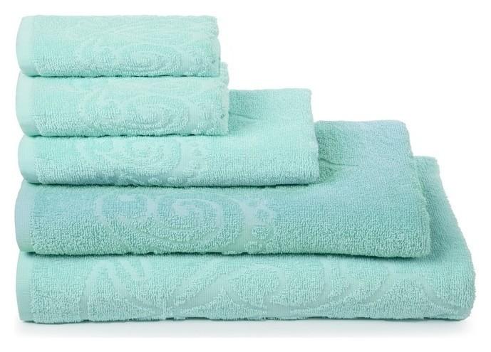 Полотенце махровое «Romance» цвет ментол, 40х60, 340 гр/м Cleanelly