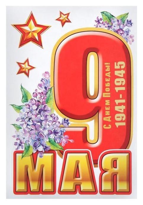 """Набор наклеек на авто """"9 Мая"""" цветы, 17 х 25 см  Фда-card"""