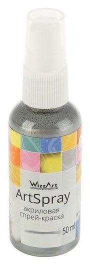 Спрей-краска Metallic, 50 мл, Wizzart Spray, серебро светлое  WizzArt