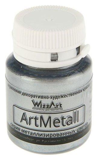 Краска акриловая Metallic, 20 мл, Wizzart, серебро металлик