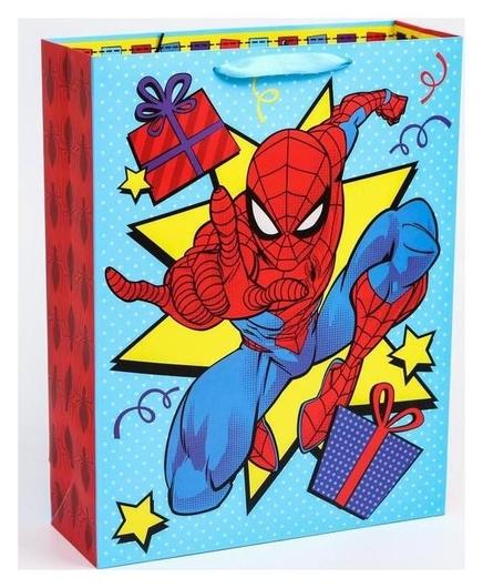 """Пакет ламинат вертикальный """"С днем рождения!"""", человек-паук, 31х40х11 см  Marvel"""