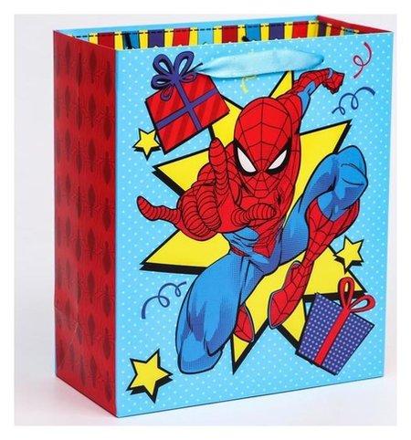 """Пакет ламинат вертикальный """"С днем рождения!"""", человек-паук, 23х27х11,5 см  Marvel"""