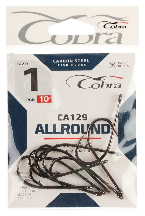Крючки Cobra Allround серия Ca129 №1, 10 шт.  Cobra