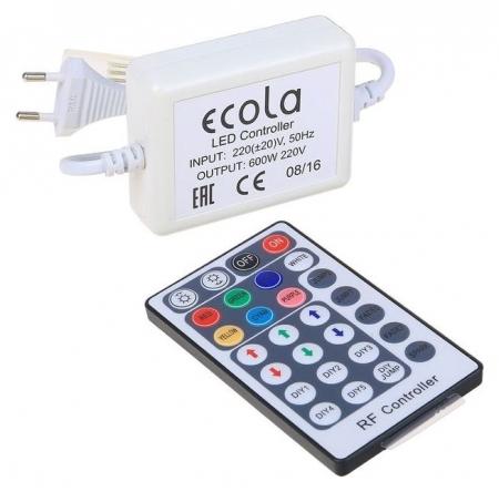 Контроллер Ecola, для RGB ленты 14 х 7 мм, 220 В, 600 Вт, 2.7 А, Ip68, радиопульт  Ecola