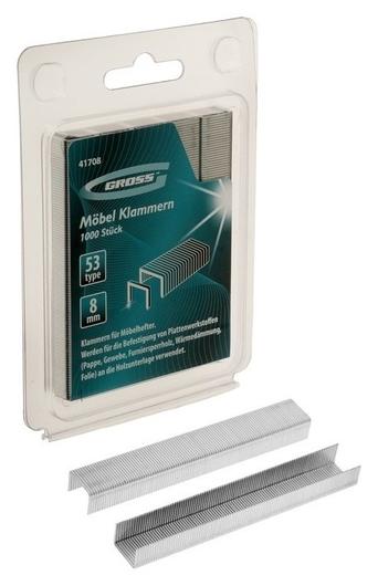 Скобы для мебельного степлера Gross, 8 мм, тип 53, усиленные, 1000 шт.  Gross