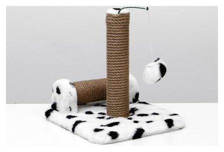 Когтеточка двойная для котят на подставке, джут, 30 х 28 х 32 см, далматинец  NNB