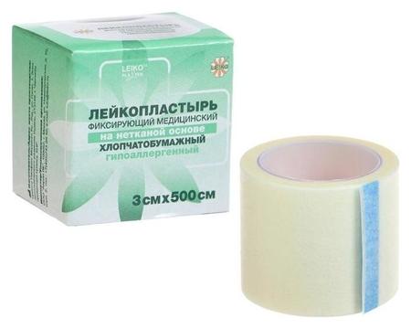 """Лейкопластырь """"Leiko""""фиксирующий медицинский на нетканой основе, гипоаллергенный 3см х 500см  Leiko"""