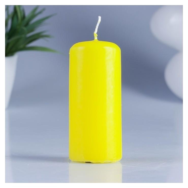 Свеча классическая желтая 4х9 см  Омский свечной завод