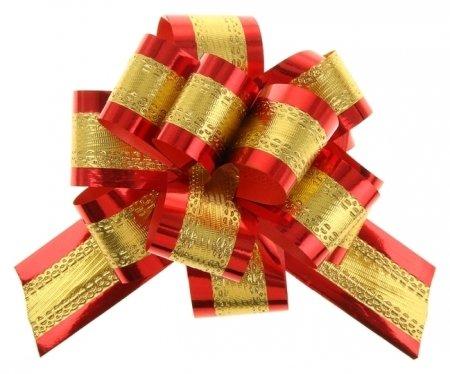 Бант-шар №3,2 золотой в красном  NNB