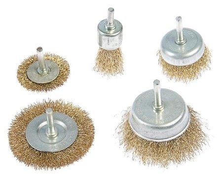 Набор щеток металлических для дрели Tundra, плоские 50-75 мм, чашки 25-50-75 мм, 5 шт.  Tundra