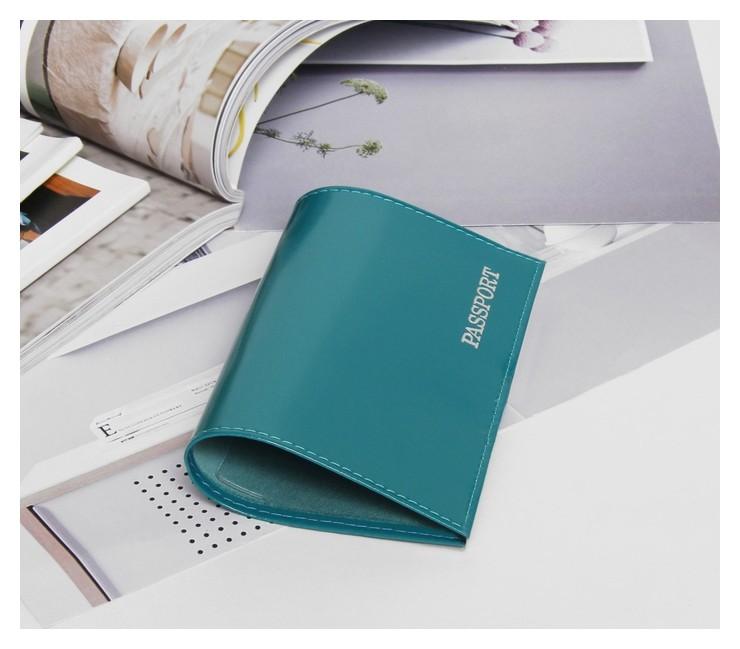 Обложка для паспорта, глянцевая, тиснение, цвет бирюзовый  NNB