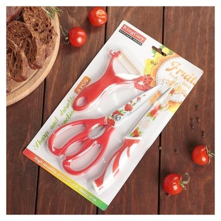 """Набор кухонный """"Цветение"""", 3 предмета: нож 12,5 см, ножницы, овощечистка 28х18х1 см, цвет красный  NNB"""