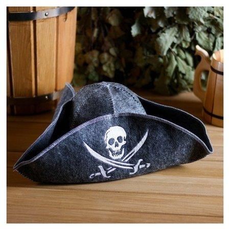 """Банная шапка """"Пират"""", войлок, серая  NNB"""