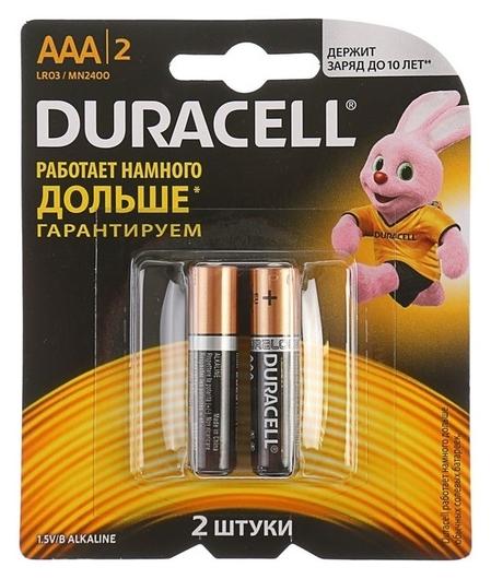 Батарейка алкалиновая Duracell Basic, Aaa, Lr03-2bl, 1.5в, блистер, 2 шт.  Duracell