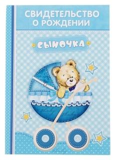 """Свидетельство о рождении мальчика """"Коляска"""" с карманом для бирки"""