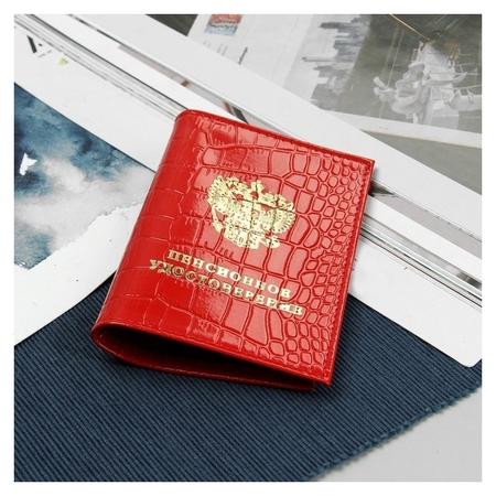Обложка для пенсионного удостоверения, крокодил, цвет красный  NNB