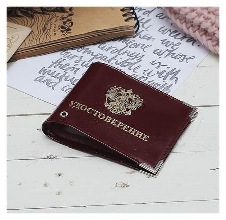 Обложка для удостоверения, тиснение, с окошком, герб, цвет бордовый  NNB