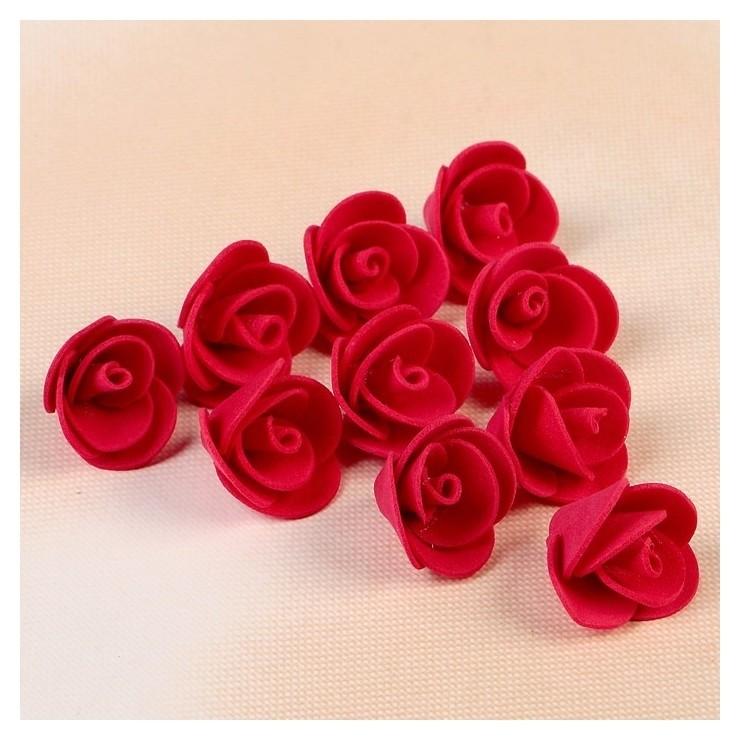 """Набор цветов для декора """"Роза"""", из фоамирана, D=2 см, 10 шт, красный  NNB"""