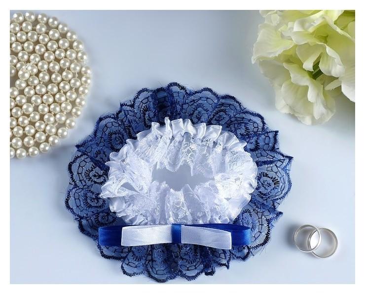 """Подвязка для невесты """"Инь янь"""", бело-синяя  NNB"""