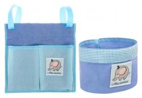 """Кармашек для хранения на детскую кроватку (2 отделения) и настольная корзинка """"Наш любимый сыночек"""""""