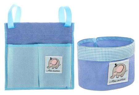 """Кармашек для хранения на детскую кроватку (2 отделения) и настольная корзинка """"Наш любимый сыночек""""  NNB"""