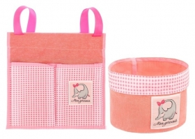 """Кармашек для хранения на детскую кроватку (2 отделения) и настольная корзинка """"Наша любимая доченька""""  NNB"""