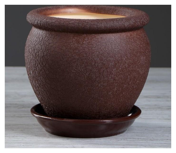 """Горшок для цветов """"Вьетнам"""" шёлк, шоколадный цвет, 1,5 л  Ориана"""
