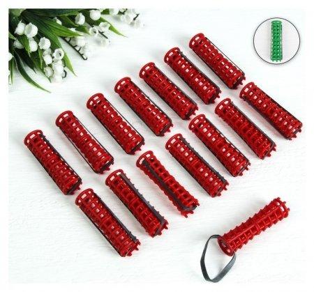 Бигуди на резинке, D = 1,5 см, цвет красный/чёрный  NNB