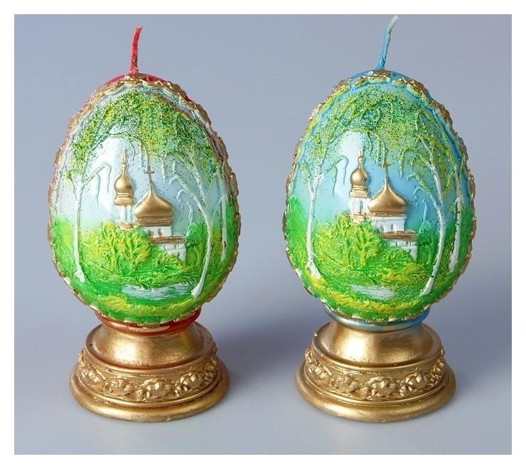 Декоративная свеча «Пасхальное яйцо с берёзой»  NNB
