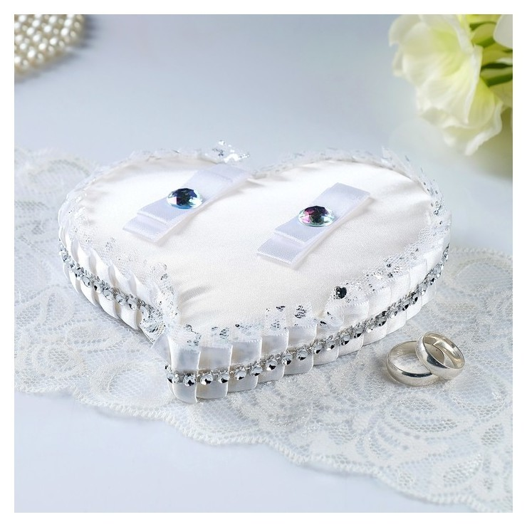 Подставка под кольца «Сердце», блеск, белая  NNB