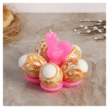"""Свеча-подставка для 5 яиц """"Золотой петушок""""  NNB"""