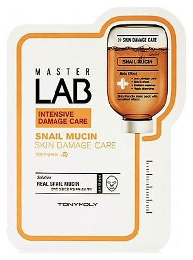 Маска регенерирующая с улиточной слизью Master Lab Snail Mucin Skin Damage Care Mask Sheet  Tony Moly
