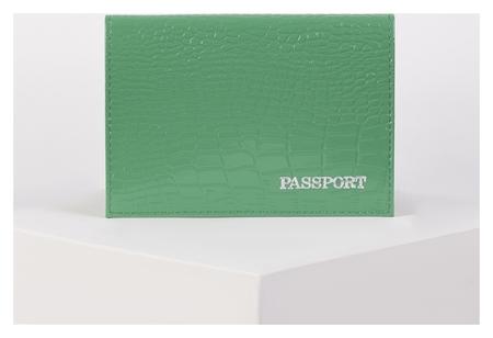 Обложка для паспорта, тиснение фольга, крокодил, цвет зелёный  NNB