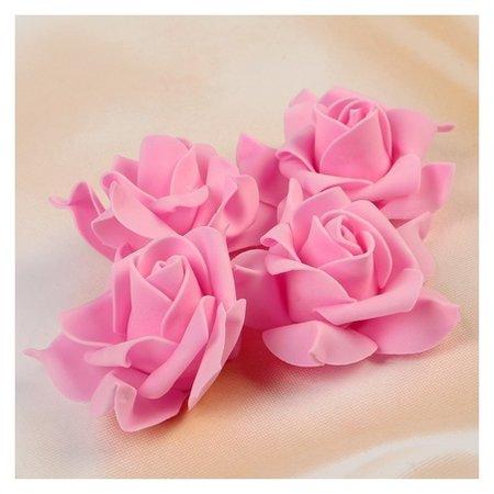 Набор цветов для декора из фоамирана, D=7,5 см, 4 шт, розовый  NNB