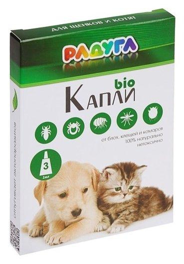 """Капли """"Радуга БИО"""" для щенков и котят от блох, клещей, комаров, 3 х 1 мл  Радуга"""